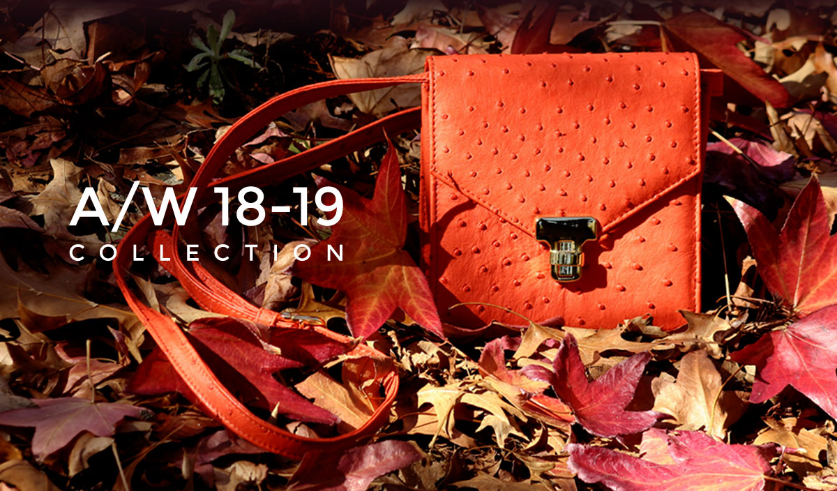 The Struzzu autumn winter 2018 collection of genuine ostrich leather handbags is an ode to autumn leave colours.