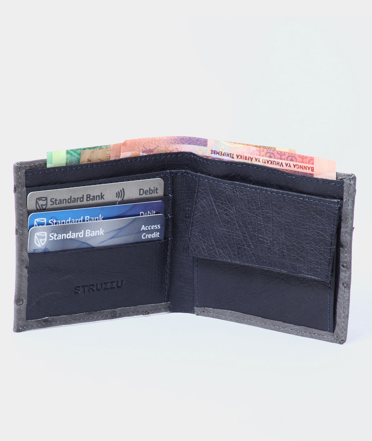 MENS WALLET IN TWO TONE  ANTRACITE AND NAVY BLUE