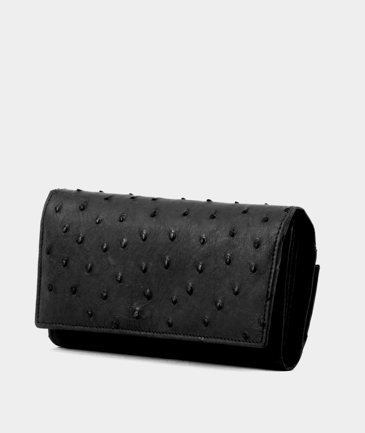 genuine ostrich leather wallet for women in black - side view