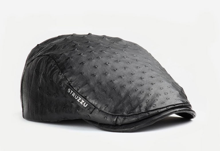 The Path Finder classic flat cap in ostrich leather angled view