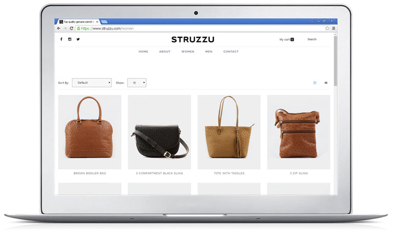 The first Struzzu online store.