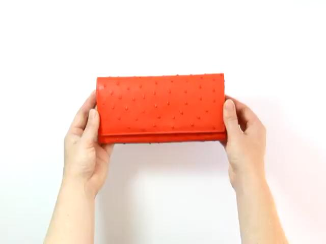 red-ostrich-leather-purse-product-video